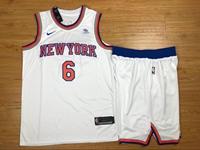 Mens Nba New York Knicks #6 Kristaps Porzingis White Nike Suit Jersey