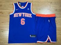 Mens Nba New York Knicks #6 Kristaps Porzingis Blue Nike Suit Jersey