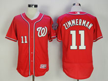 Mens Majestic Washington Nationals #11 Ryan Zimmerman Red Flex Base Jersey