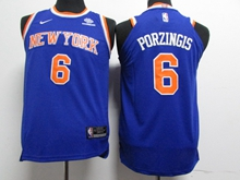 Youth Nba New York Knicks #6 Kristaps Porzingis Blue Nike Jersey