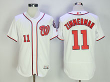 Mens Majestic Washington Nationals #11 Ryan Zimmerman White Flex Base Jersey