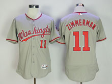 Mens Majestic Washington Nationals #11 Ryan Zimmerman Gray Flex Base Jersey