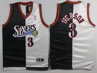 Mens Nba Philadelphia 76ers #3 Allen Iverson Black&white Splits Jersey