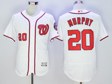 Mens Majestic Washington Nationals #20 Daniel Murphy White Pullover Flex Base Jersey