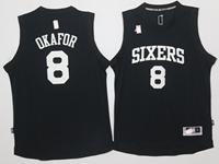 Mens Nba Philadelphia 76ers #8 Jahlil Okafor Black Jersey