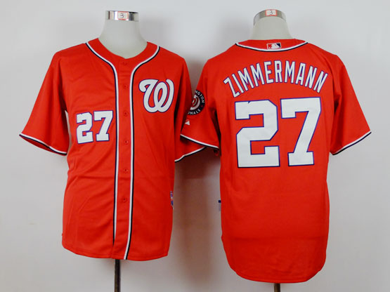 Mens Majestic Washington Nationals #27 Jordan Zimmermann Red Cool Base Jersey