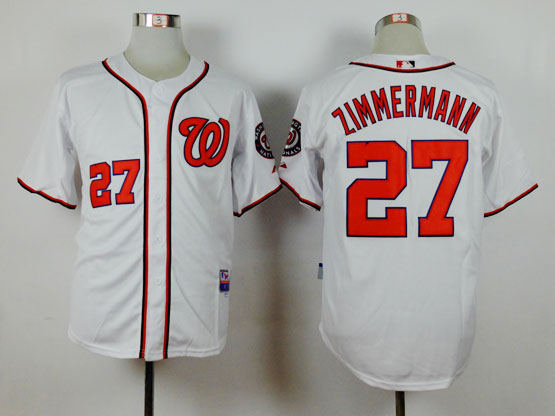 Youth Majestic Washington Nationals #27 Jordan Zimmermann White Cool Base Jersey