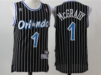 New Mens Nba Orlando Magic #1 Mcgrady Black Stripe Swingman Hardwood Classics Mesh Jersey
