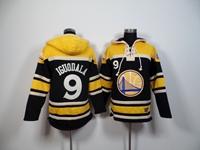 Mens Nba Golden State Warriors # 9 Iguodala Black&yellow Team Logo Hoodie Jersey