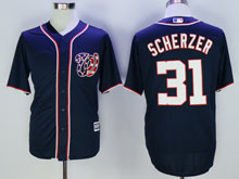 Women Mlb Washington Nationals #31 Max Scherzer Drak Blue Cool Base Jersey