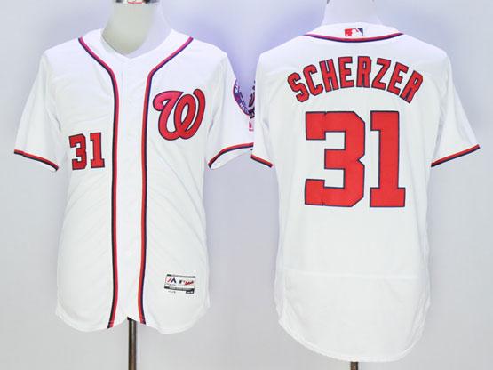 Women Mlb Washington Nationals #31 Max Scherzer White Cool Base Jersey