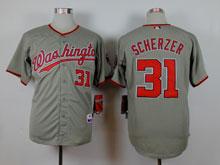 Women Mlb Washington Nationals #31 Max Scherzer Gray Jersey