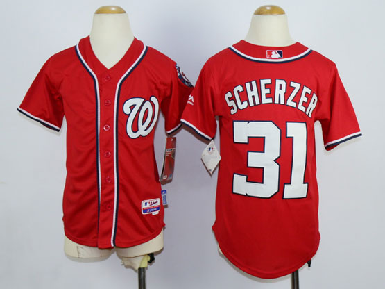 Women Mlb Washington Nationals #31 Max Scherzer Red Cool Base Jersey