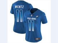 Women Nfl Philadelphia Eagles #11 Carson Wentz Blue 2018 Pro Bowl Vapor Untouchable Jersey