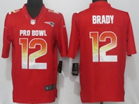 New Nfl New England Patriots #12 Tom Brady Red Nike Royal 2018 Pro Bowl Limited Jersey