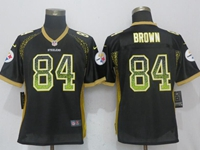 Women Nfl Pittsburgh Steelers #84 Antonio Brown Black Drift Fashion Elite Nike Jersey