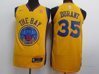 Mens Nba Golden State Warriors #35 Kevin Durant Gold Nike City Edition Swingman Jersey