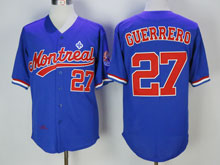 Mens Mlb Montreal Expos #27 Vladimir Guerrero ( Montreal ) Blue Throwbacks Jersey
