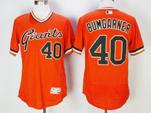 Mens Majestic San Francisco Giants #40 Madison Bumgarner Orange Pullover Flex Base Jersey
