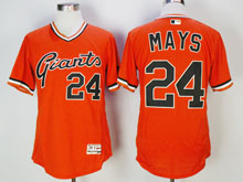 Mens Majestic San Francisco Giants #24 Willie Mays Orange Pullover Flex Base Jersey