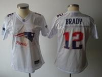 Women Nfl New England Patriots #12 Tom Brady White Print Jersey