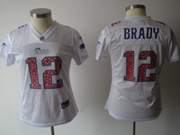 Women Nfl New England Patriots #12 Tom Brady White (dimond Number) 2018 Elite Jersey