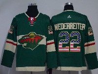 Mens Nhl Minnesota Wild #22 Nino Niederreiter Green Usa Flag Fashion Adidas Jersey