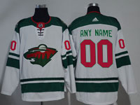 Mens Women Youth Nhl Minnesota Wild Custom Made White Adidas Jersey
