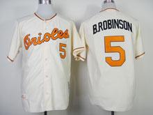 Mens Mlb Baltimore Orioles #5 B.robinson Cream 1970 Throwbacks Jersey