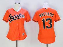 Women Mlb Baltimore Orioles #13 Manny Machado Orange Cool Base Jersey
