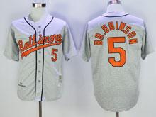 Mens Mlb Baltimore Orioles #5 B.robinson Gray Throwbacks Jersey