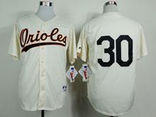 Mens Mlb Baltimore Orioles #30 Chris Tillman Cream ( No Name)throwbacks Jersey
