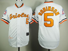 Mens Mlb Baltimore Orioles #5 B.robinson White Throwbacks Jersey