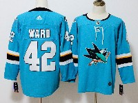 Mens San Jose Sharks #42 Joel Ward Blue Home Adidas Jersey