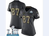 Mens Women New England Patriots #87 Rob Gronkowski Black 2018 Super Bowl Lii Bound Salute To Service Jersey
