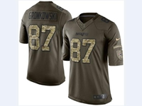 Mens Women Nfl New England Patriots #87 Rob Gronkowski Green Camo Number 2018 Limited Jersey