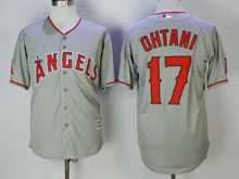 Mens Mlb Los Angeles Angels #17 Shohei Ohtani  Gray Cool Base Jersey