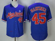Mens Mlb Montreal Expos #45 Martinez ( Montreal ) Blue Mesh Throwbacks Jersey