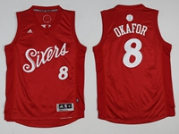 Mens Nba Philadelphia 76ers #8 Jahlil Okafor Christmas Red Jersey