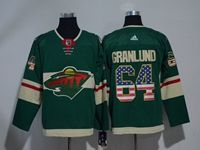 Mens Nhl Minnesota Wild #64 Granlund Green Usa Flag Fashion Adidas Jersey