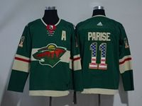 Mens Nhl Minnesota Wild #11 Zach Parise Green Usa Flag Fashion Adidas Jersey