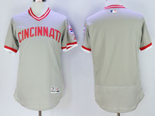 Mens Mlb Cincinnati Reds Blank Gray Pullover Throwbacks Jersey