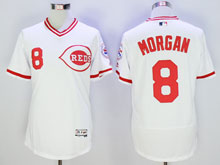 Mens Mlb Cincinnati Reds #8 Morgan White Pullover Throwbacks Flex Base Jersey