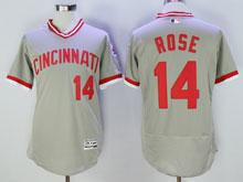 Mens Mlb Cincinnati Reds #14 Pete Rose Gray Pullover Throwbacks Flex Base Jersey