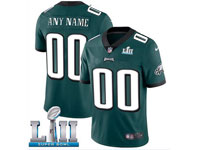 Mens Women Youth Nfl Philadelphia Eagles Dark Green Custom Made 2018 Super Bowl Lii Bound Vapor Untouchable Limited Jersey