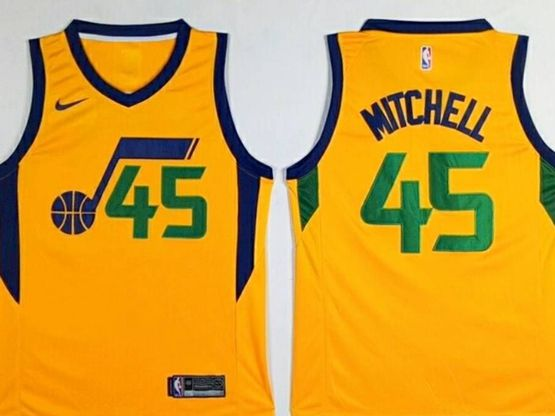 Mens 2017-18 Season Nba Utah Jazz #45 Donovan Mitchell Yellow Nike Swingman Jersey