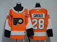 Women Youth Nhl Philadelphia Flyers #28 Claude Giroux C Patch Orange Adidas Jersey