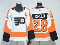 Women Nhl Philadelphia Flyers #28 Claude Giroux C Patch White Adidas Jersey