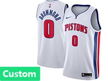 Mens Nba Detroit Pistons Custom Made White Swingman Jersey