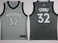 Mens Nba Minnesota Timberwolves #32 Karl-anthony Towns Gray Nike City Edition Swingman Jersey